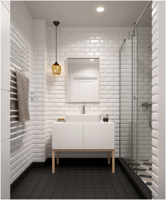 Tiled Bathroom with Beautiful Lighting